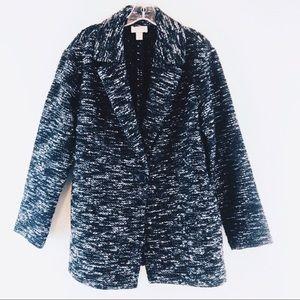 LOFT Knit Jacket Blazer Sweater Black White Sz M